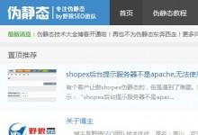 介绍一个配置伪静态的主题网站,野狼的博客《伪静态》www.weijingtai.org